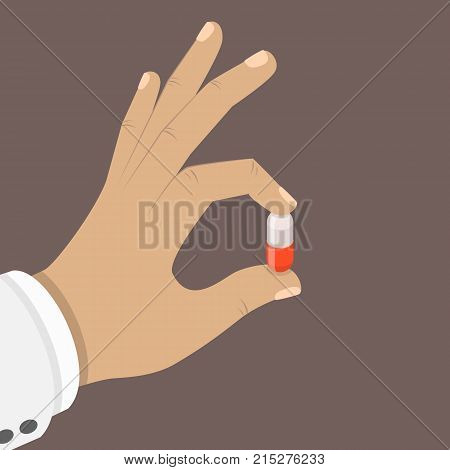 One pill in a hand flat isometric vector concept. Doctor hand is holding a red and white pill with his fingers.