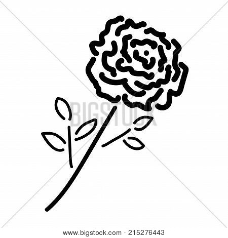Single rose sign. Image of floral. Black icon isolated on white background. Bloom flower symbol. Logo for romantic. Florist content. Mark of blossom. Stock vector illustration