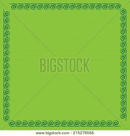 Frame green. Color framework isolated on light green background. Decoration concept. Modern art scoreboard. Border from waves. Decoration banner rim. Stock vector illustration