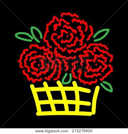Roses in basket sign. Beautiful colorful icon isolated on black background. Floral surprise symbol. Logo for holiday celebration. Image of elegant present. Mark of decoration for gift. Stock vector