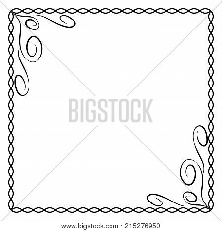 Frame black. Monochrome framework isolated on white background. Decoration chain concept. Modern art scoreboard. Border from ovals and curves. Decoration banner rim. Stock vector illustration