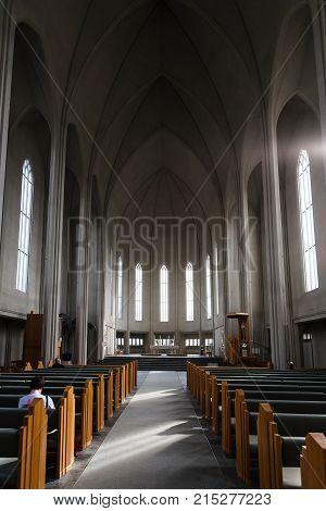 Inside Of Hallgrimskirkja Church In Reykjavik