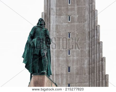 Figure Of Leifur Eiriksson Near Hallgrimskirkja