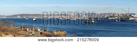 Murmansk, Russia - October 10, 2010: View of the city of Murmansk from the Kola Bay