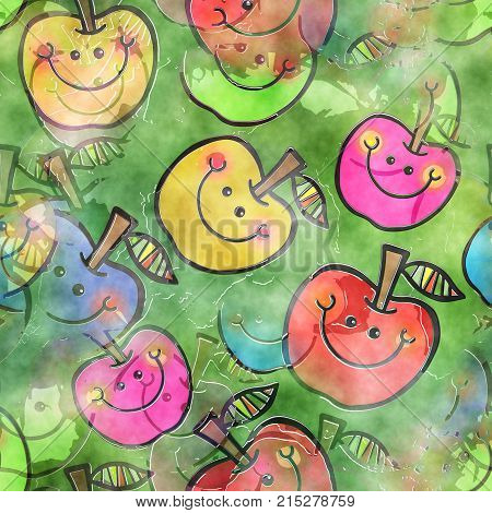 A seamless watercolour textile design with happy cartoon apples.