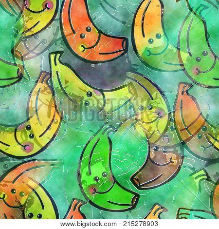 A seamless watercolour textile design with happy cartoon bananas.