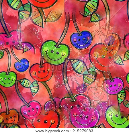A seamless watercolour textile design with happy cartoon cherries.
