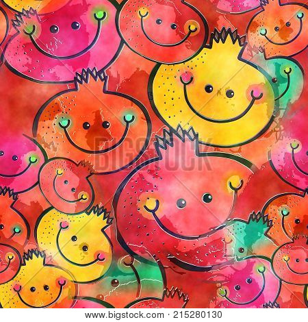 A seamless watercolour textile design with happy cartoon fruit.