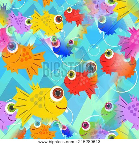 A seamless cartoon underwater scene with colorful happy fish.