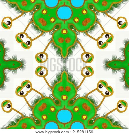 A seamless pattern with a green germ with cartoon eyes .