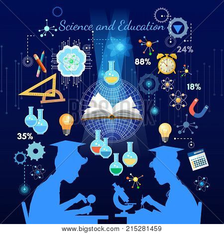 Education and science concept. Silhouette of boy and girl. Children study. Open book of knowledge school background effective modern education template design
