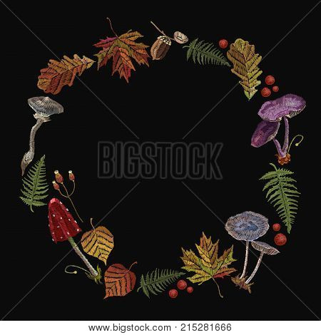 Embroidery mushrooms and fall leaves. Fly agarics toadstools forest artFashion nature template for clothes textiles t-shirt design