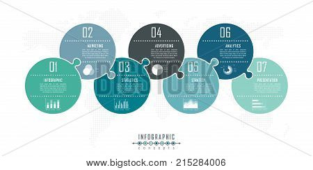 Infographic timeline puzzle template can be used for chart, diagram, web design, presentation, advertising, history. Vector infographic illustration
