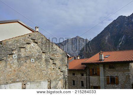 Derelict buildings in hill village of Erto in Friuli Venezia Giulia