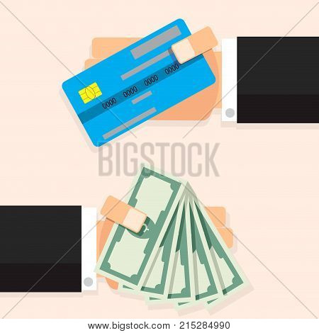Cash money banknote and credit card. Dollar banknote cash in hand finance interchange financial vector illustration