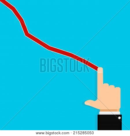 Show finger crisis chart. Vector finance market crisis chart graph or diagram stock economy illustration