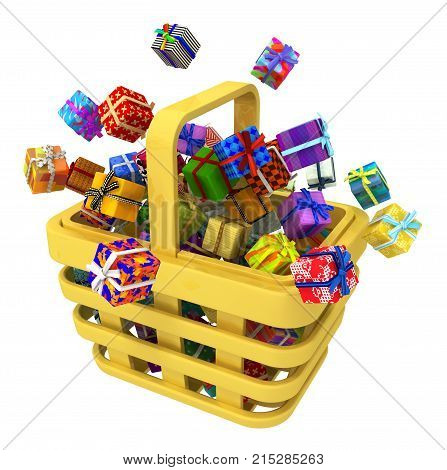 Gift large group in shopping basket 3d illustration horizontal isolated over white
