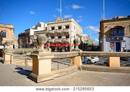 MOSTA, MALTA - APRIL 2, 2017 - Steps leading to the Mosta Dome with buildings around Rotunda Square in the town centre Mosta Malta Europe, April 2, 2017.