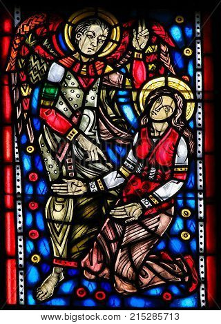 Stained Glass In Worms - Gabriel And Mother Mary