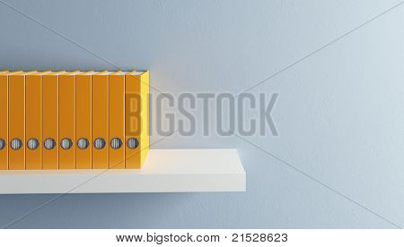 row of folders on bookshelf, 3d render