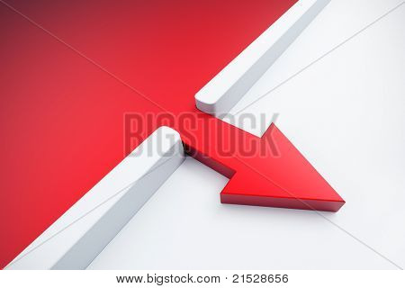 infiltration of a red arrow outside, 3d render