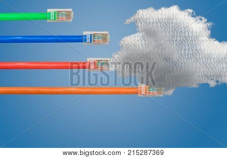 Ethernet cables emerge with different lengths and fail to reach cloud computing to illustrate Net Neutrality debate