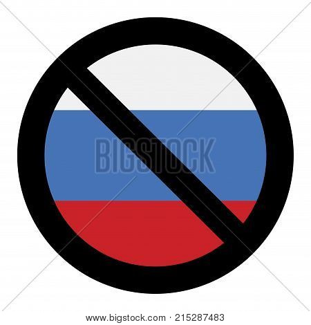 Ban russia icon. Embargo and penalty economic sanctions punishment vector illustration