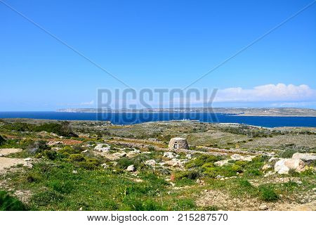 Views towards Gozo and Comino seen from the Red Fort Malta Europe.