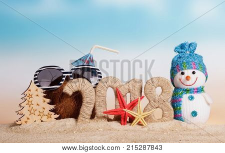 New Year Inscription 2018, Coconut With Straw, Umbrella And Sunglasses, Snowman, Christmas Tree And