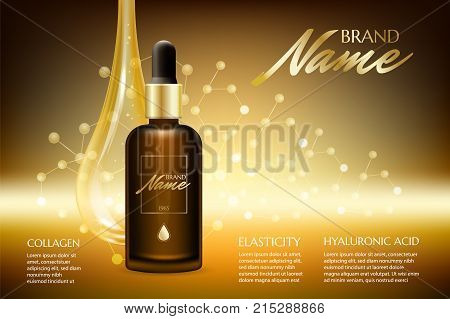 Advertising Poster For Cosmetic Product For Catalog, Magazine. Vector Design Of Cosmetic Package. Na