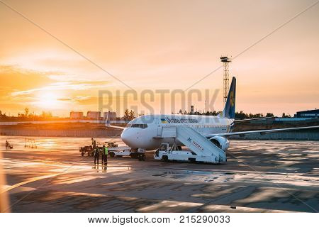 Minsk, Belarus - September 17, 2017: Aircraft Plane Boeing 737-800 Of Ukraine International Airlines Stand At The Minsk National Airport - Minsk-2 Terminal In Autumn Day.