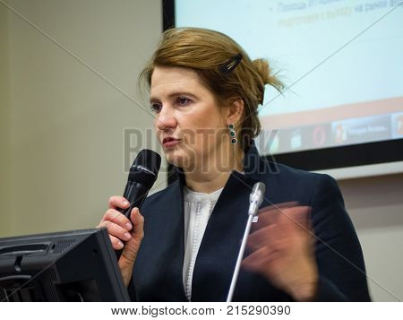 MOSCOW RUSSIA - NOV 22 2017: Co-founder of Kaspersky Lab and InfoWatch CEO Natalya Kaspersky makes speech at forum on investment potential of Russian IT market in Moscow Russia on Nov 22 2017.