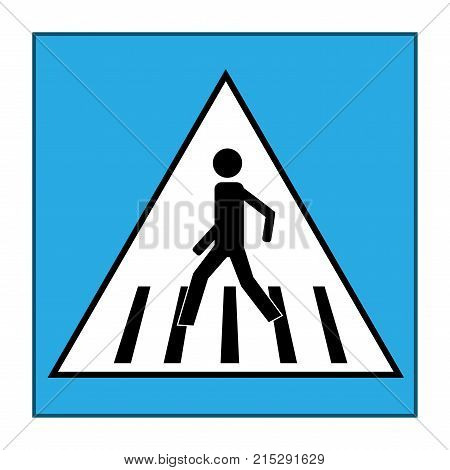Crosswalk sign black in white triangle. Icon a pedestrian place for child near school. Symbol safety traffic human on road. Label for banner about crossing way. Design element. Vector illustration
