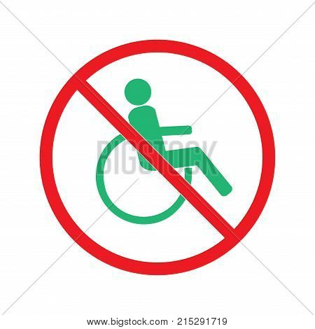 Disabled sign in red circle. Mark disability. Icon a place open passage. Symbol paralyzed and human on wheelchair. Safety person warning handicapped illustration. Design element. Vector illustration