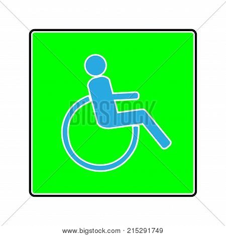 Disabled sign in green square. Mark disability. Icon a place open passage. Symbol paralyzed and human on wheelchair. Safety person warning handicapped illustration. Design element. Illustration