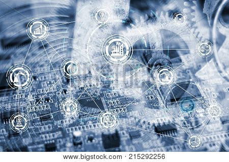 Industry concept image. industrial instruments in the factory with cyber and physical system icons ,Internet of things network,smart factory solution