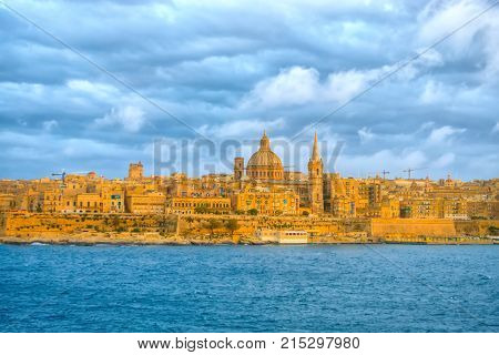 Beautiful Scene Of Basilica Our Lady Mount Carmel In Valletta From Sliema, Malta