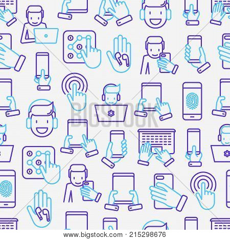 Using devices seamless pattern with thin line icons: gadget, tablet in hands, touchscreen, fingerprint, laptop, wireless headphones. Modern vector illustration for banner, web page, print media.