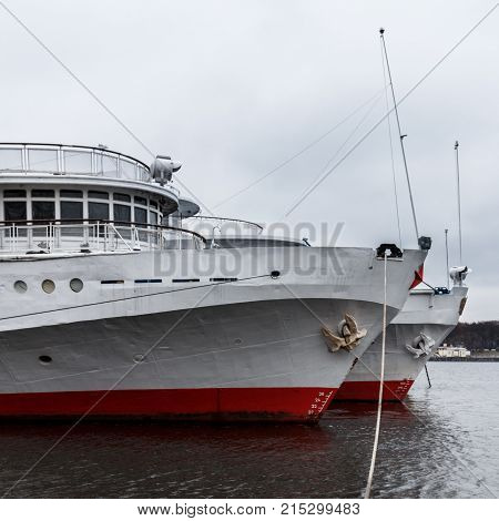 Passenger Cruise Ship Is Moored To The Moscow River Embankment.