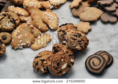 Assorted christmas cookies at the kitchen.