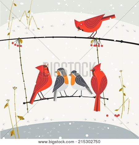 Cute winter birds of backyard. Red Northern Cardinal robin on snow background of city garden. Colorful flat cartoon. Stylized animal sign. New year event banner. Christmas wonderland greeting design