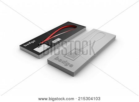 3D Illustration Of Blank Badge With Lanyard In The Box, On White Background