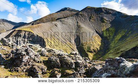 Mount Near Laugahraun Lava Field In Iceland