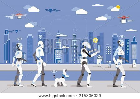 Robots Walking in a Futuristic City. Futuristic image of a near future.