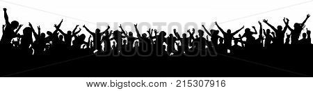 large crowd of people fans silhouette, vector