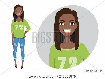 black african american Woman in a casual cloth. Smiling happy woman.