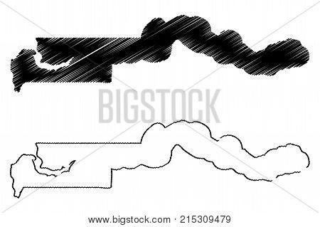 Gambia map vector illustration , scribble sketch Republic of The Gambia
