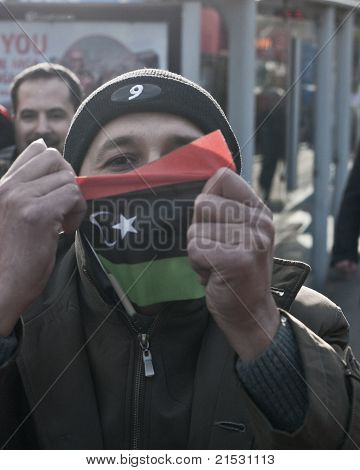 Man with Libyan flag