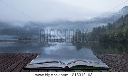 Landscape Of Llyn Crafnant During Foggy Autumn Morning In Snowdonia National Park