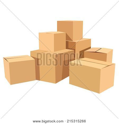 Pile of stacked sealed goods cardboard boxes. Flat style vector illustration icon eps10 isolated on white background.